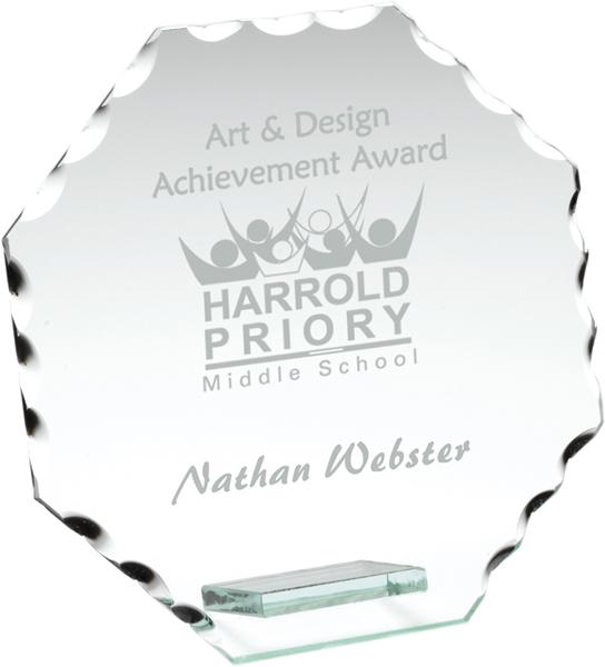 "Octagonal Cut Edge Glass Plaque Award 9.5cm (3.75"")"