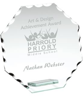 "Octagonal Cut Edge Glass Plaque Award 13.5cm (5.25"")"
