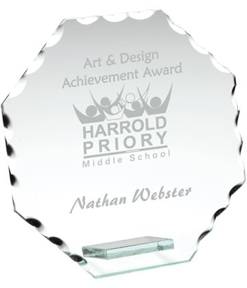 "Octagonal Cut Edge Glass Plaque Award 9.5cm (3.75"")"