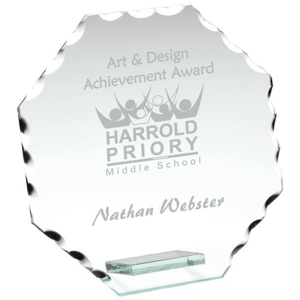 "Octagonal Cut Edge Glass Plaque Award 13.5cm (5.25"")"