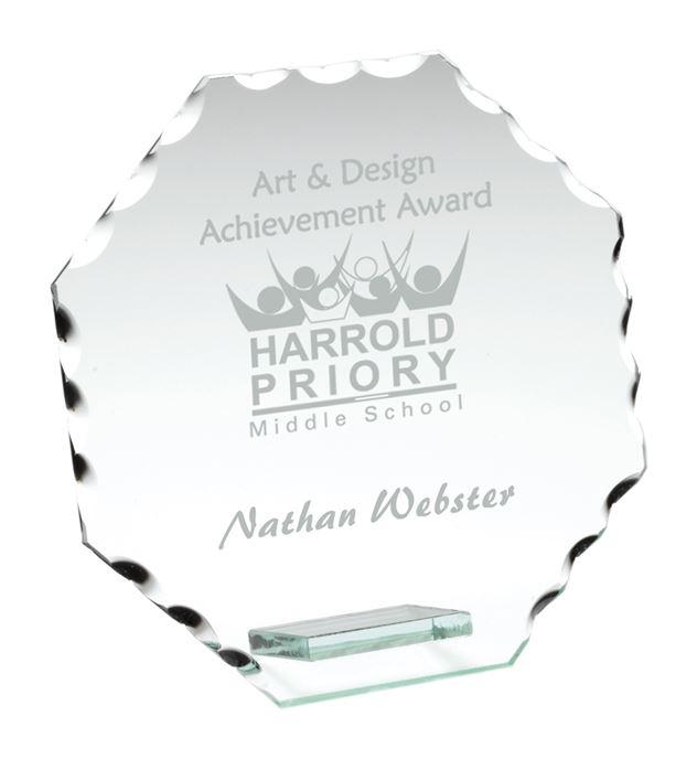 "Octagonal Cut Edge Glass Plaque Award 11.5cm (4.5"")"