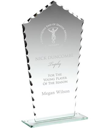 "Clear Cut Edge Glass Plaque Award 18cm (7"")"