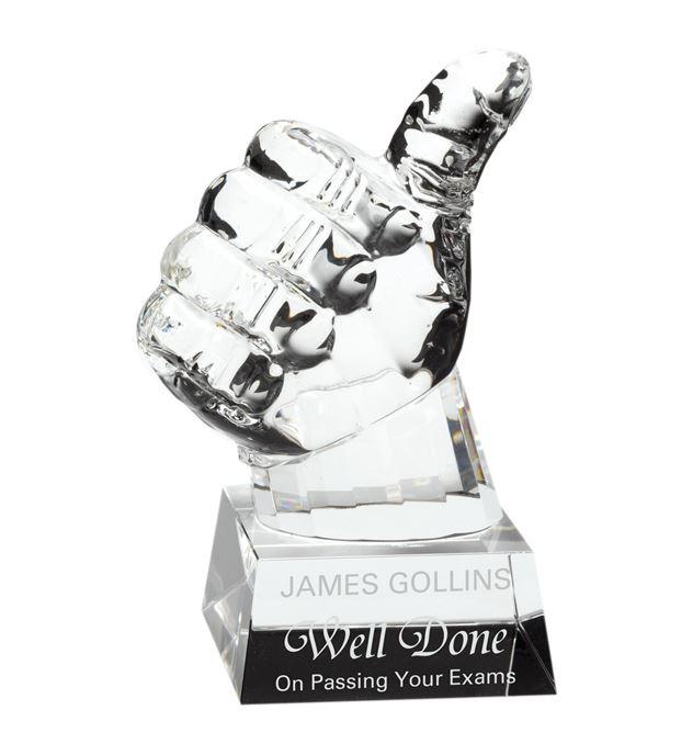 "Heavyweight Glass Thumbs Up Award 14cm (5.5"")"