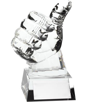 "Thick Glass Thumbs Up Award 14cm (5.5"")"