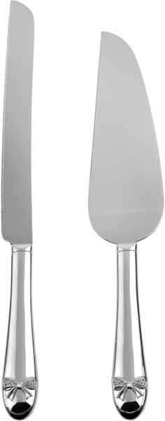 Silver Plated Crystal Bow Wedding Knife & Cake Server