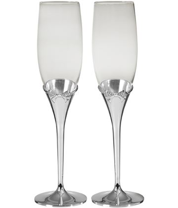 Crystal Bow Champagne Flutes with Silver plated Stems
