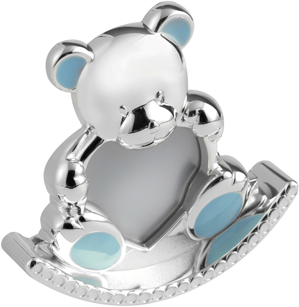 "Silver Plated Blue Enamelled Rocking Teddy Photo Frame 12.5cm (5"")"