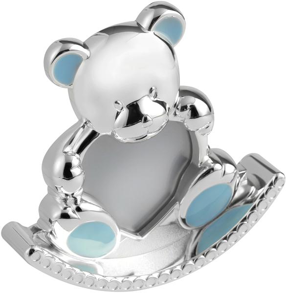 "Silver Plated Blue Enamelled Rocking Teddy Photo Frame 12.5cm (5"")"