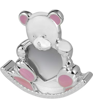 "Silver Plated Pink Enamelled Rocking Teddy Photo Frame 12.5cm (5"")"