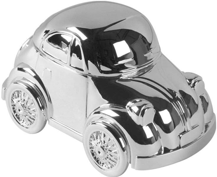 "Silver Finish Beetle Car Money Box 11.5cm (4.5"")"