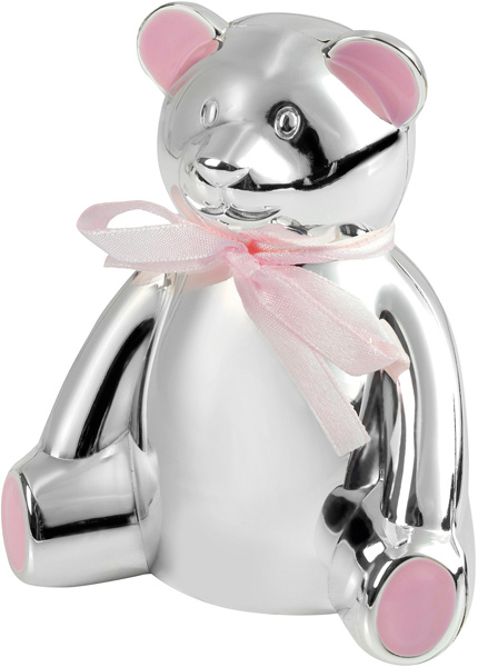 "Silver Plated Teddy Bear Money Box with Pink Bow 10cm (4"")"