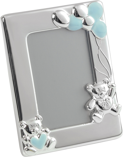 "Silver Plated Blue Enamelled Teddy Photo Frame 10cm (4"")"