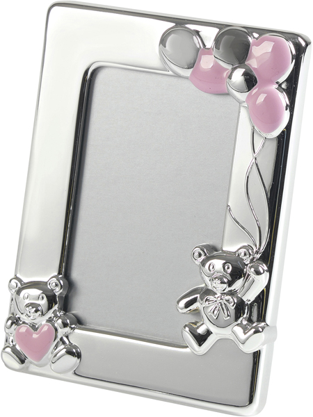 "Silver Plated Pink Enamelled Teddy Photo Frame 10cm (4"")"