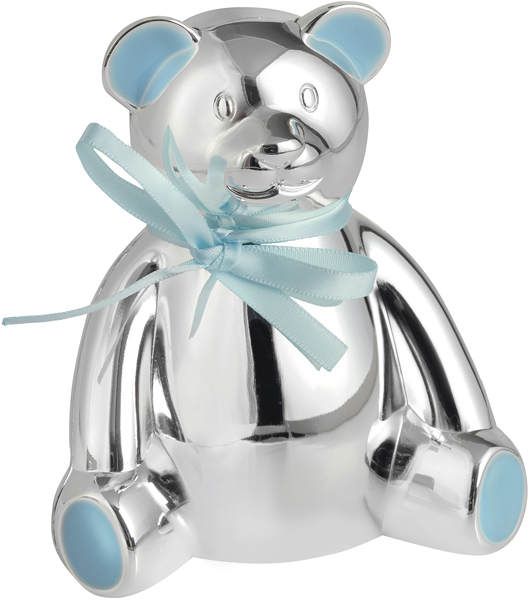 "Silver Plated Teddy Bear Money Box with Blue Bow 10cm (4"")"