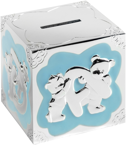 "Silver Plated Blue Enamelled Teddy Pattern Cube Money Box 7cm (2.75"")"