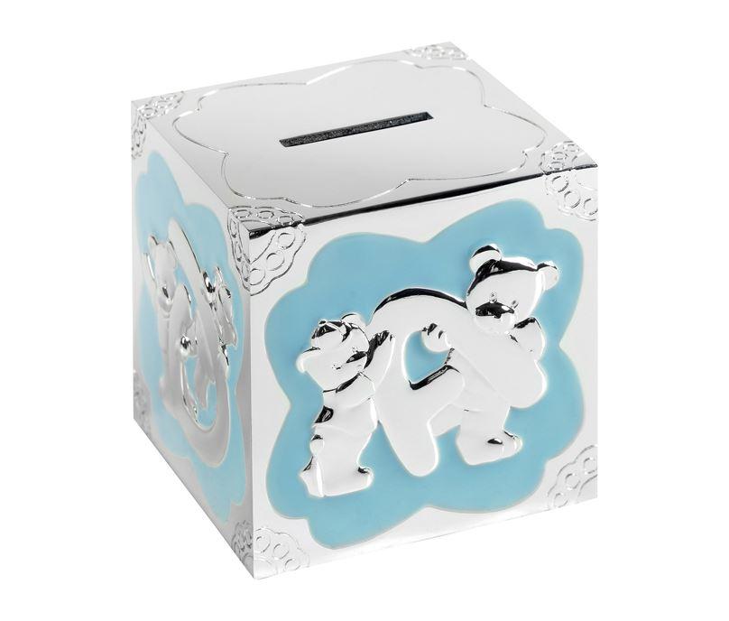"Silver Plated Blue Enamelled Teddy Pattern Cube Money Box 7cm (2.75"")"
