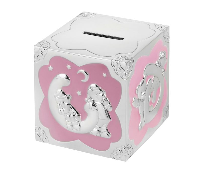 "Silver Plated Pink Enamelled Teddy Pattern Cube Money Box 7cm (2.75"")"