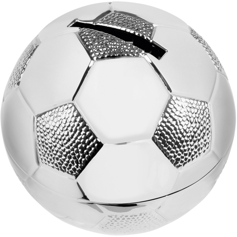 "Silver Finish Football Shaped Money Box 6.5cm (2.5"")"