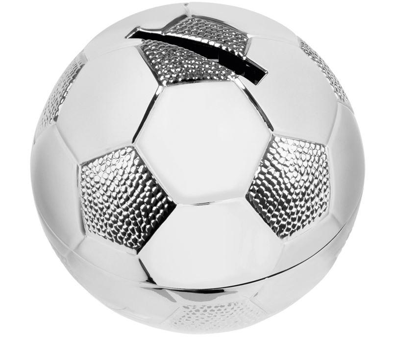 "Silver Finish Football Shaped Money Box 6.5cm (2.5"")"