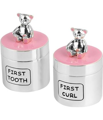 Silver Plated Pink Enamelled Teddy First Tooth & Hair Curl Set 4.5cm