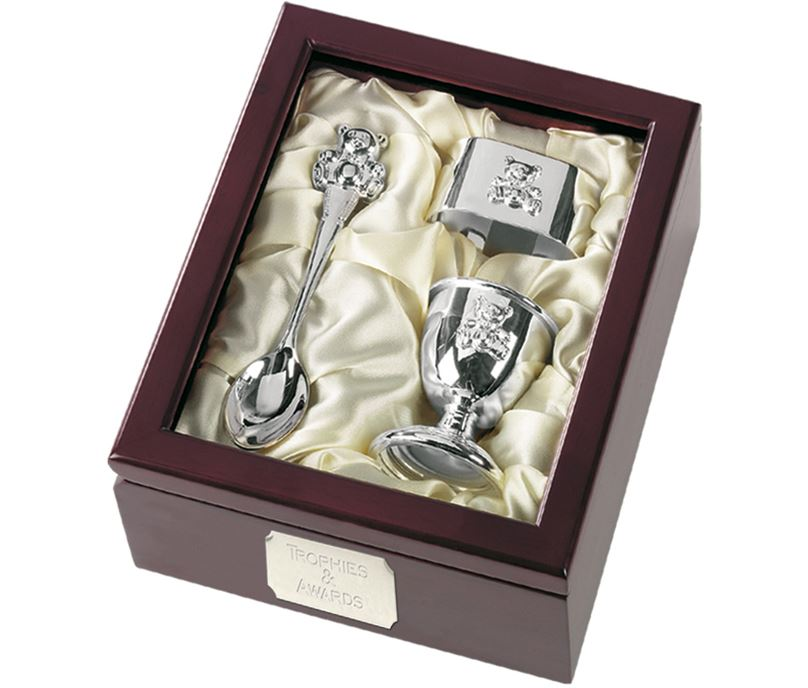 Silver Finish Egg Cup, Spoon & Napkin Ring with Presentation Case