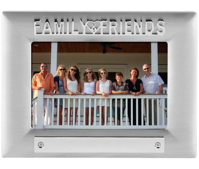 Silver Satin Finish Family Friends Photo Frame 18cm x 13.5cm