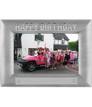 Silver Satin Finish Happy Birthday Photo Frame 18cm x 13.5cm