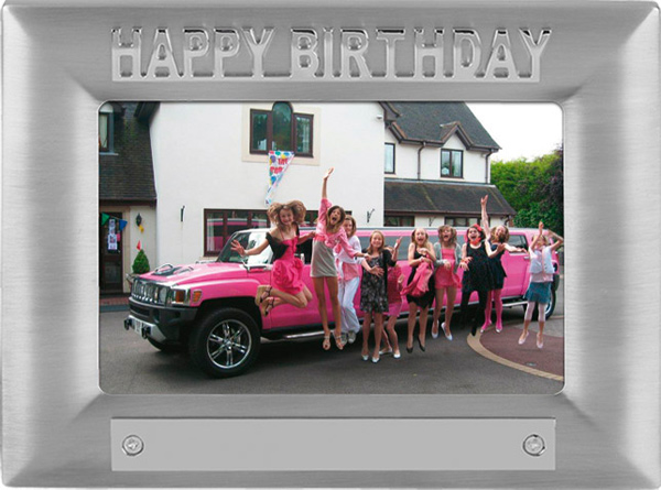 Silver Satin Finish Happy Birthday Photo Frame 18cm x 13.5cm