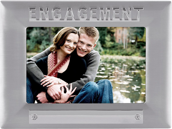 Silver Satin Finish Engagement Photo Frame 18cm x 13.5cm