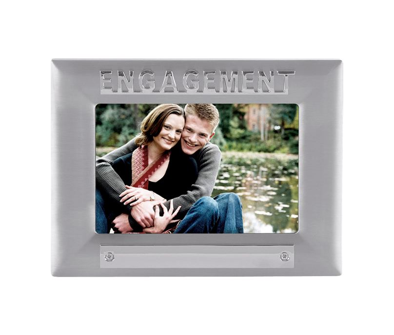 Silver Satin Finish Engagement Photo Frame 18cm x 13.5cm