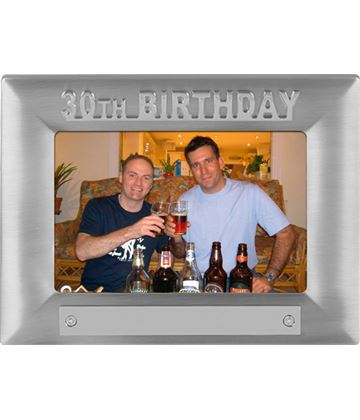 Silver Satin Finish 30th Birthday Photo Frame 18cm x 13.5cm