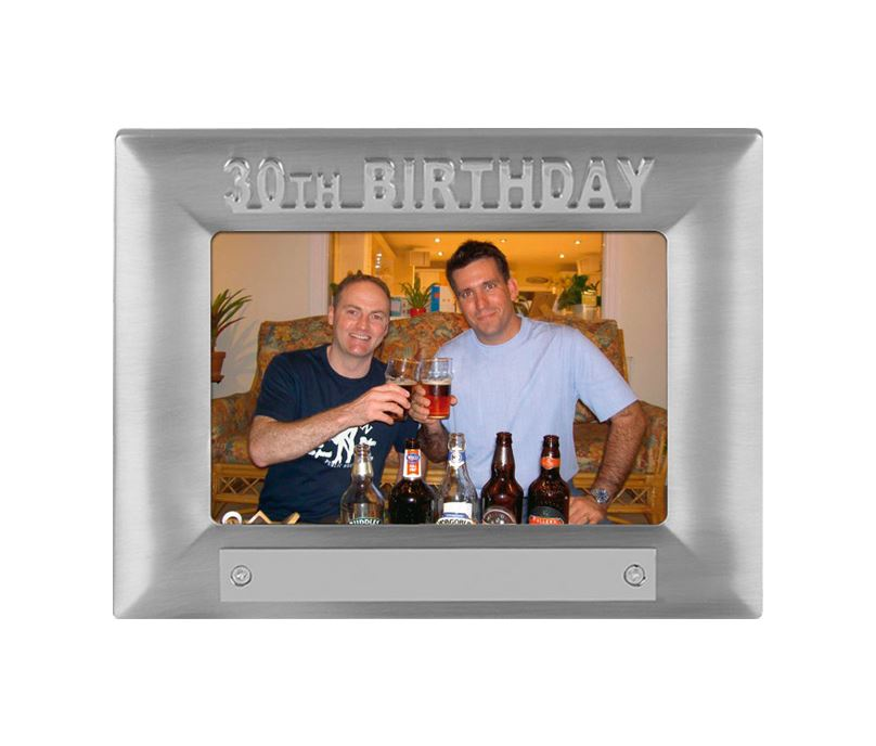 Silver Satin Finish 30th Birthday Photo Frame 18cm x 13.5cm