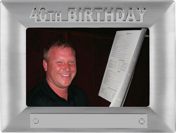 Silver Satin Finish 40th Birthday Photo Frame 18cm x 13.5cm