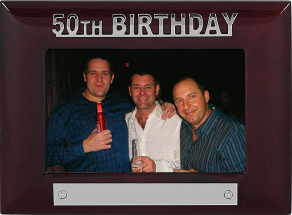 Mahogany Finish 50th Birthday Photo Frame 18cm x 13.5cm
