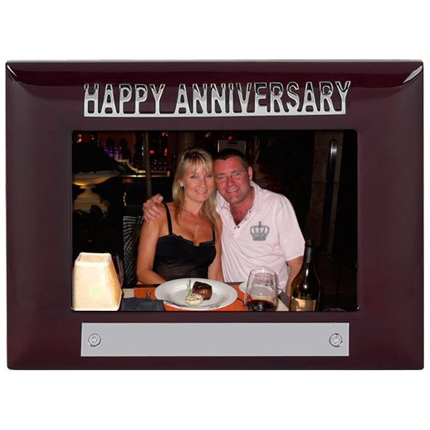 Mahogany Finish Happy Anniversary Photo Frame 18cm x 13.5cm