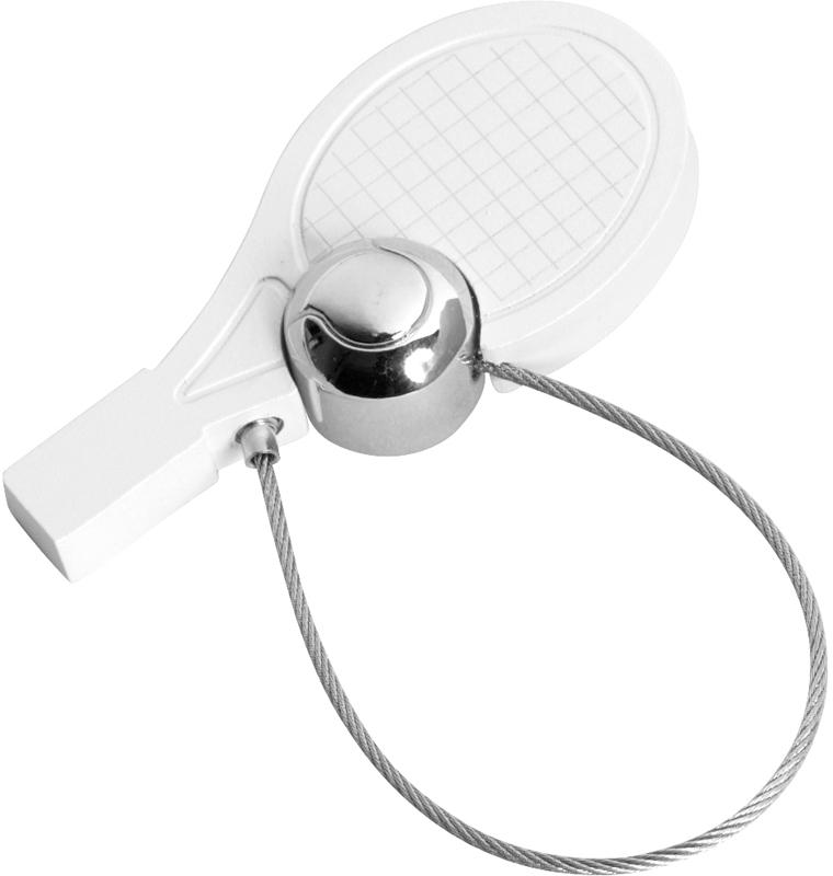 "White Satin Finish Tennis Racquet & Ball Keyring 5cm (2"")"