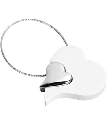 "White Satin Finish Heart Keyring 5cm (2"")"