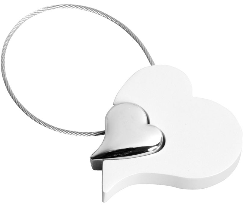 "White Satin Finish Heart Keyring 5cm (2"")"