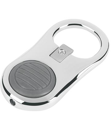 "Silver Metal Light & Bottle Opener Keyring 5.5cm (2.25"")"