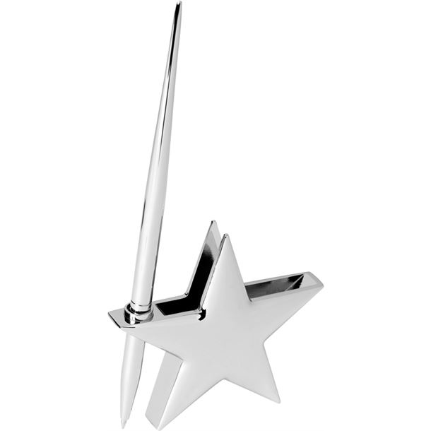 """High Polished Silver Metal Star Card Holder with Pen 7.5cm (3"""")"""