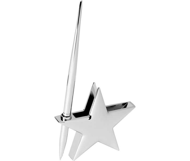 "High Polished Silver Metal Star Card Holder with Pen 7.5cm (3"")"