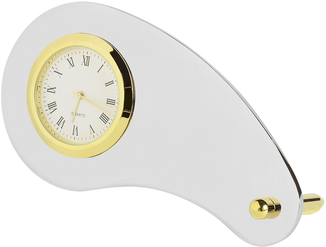 "Gold & Silver Curved Metal Clock 10cm (4"")"