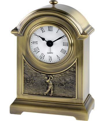 "Antique Brass Finish Arch Clock with Golf Scene 16cm (6.25"")"