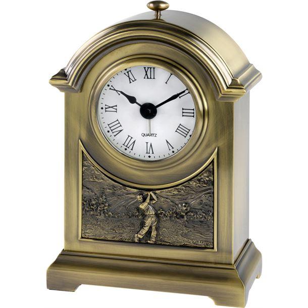 "Antique Brass Finish Arch Clock with Golf Scene 16cm (6.25"")"