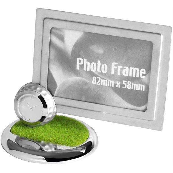"Nickel Finish Metal Photo Frame with Golf Ball Clock 11.5cm (4.5"")"