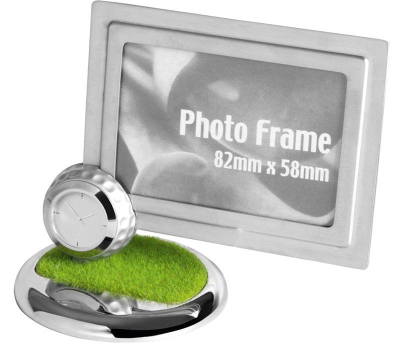 "Nickel Finish Metal Photo Frame with Golf Ball Clock 11.5cm (4.5"")"