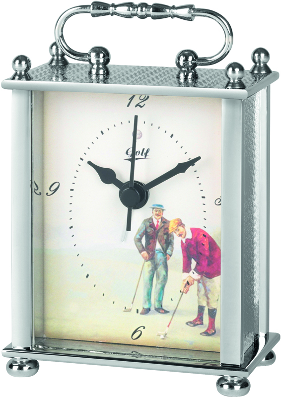 "Silver Metal Carriage Clock with Golf Image 10cm (4"")"