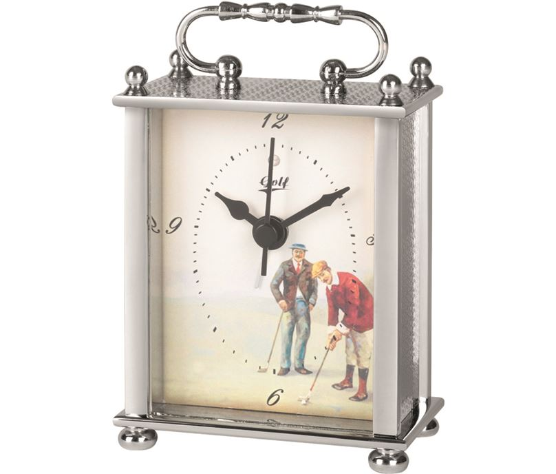 """Silver Metal Carriage Clock with Golf Image 10cm (4"""")"""