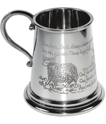 "1/4pt Baa Baa Black Sheep Children's Sheffield Pewter Tankard 7.5cm (3"")"