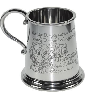 "1/4pt Humpty Dumpty Children's Sheffield Pewter Tankard 7.5cm (3"")"